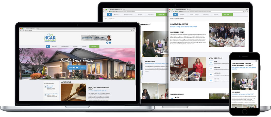 Howard County Association of REALTORS website images in browsers